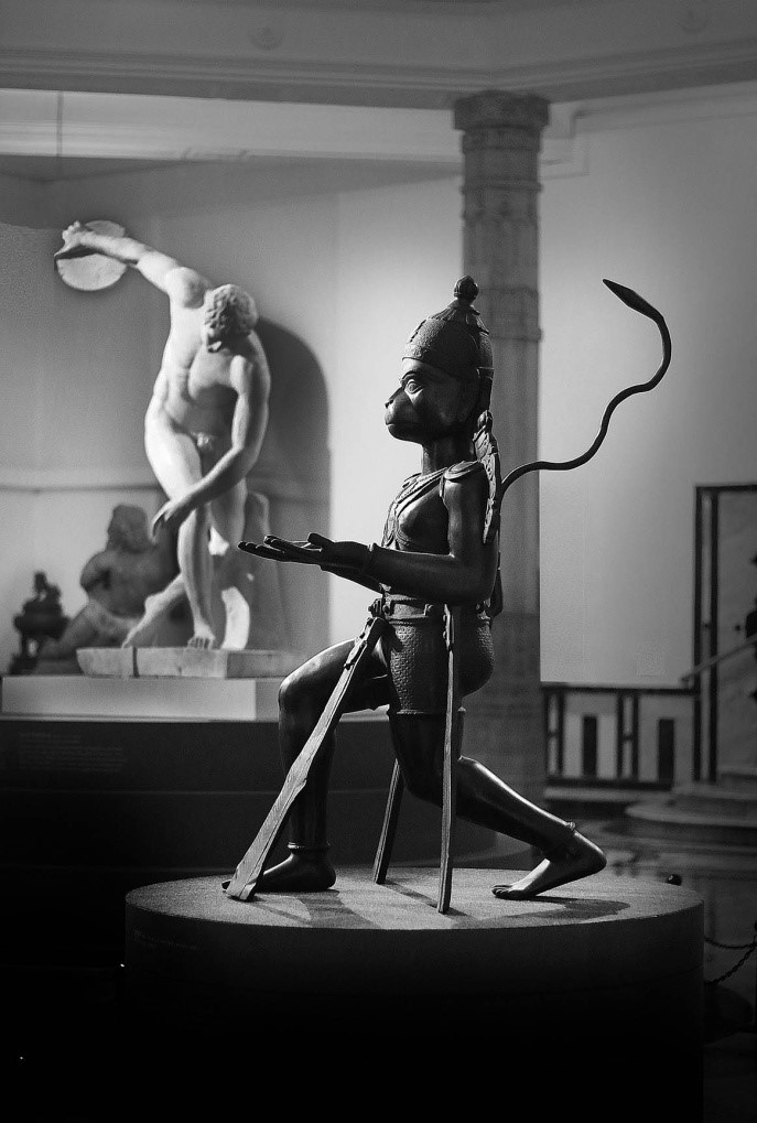 Townley Discobolus, and the a bronze Hanuman, the monkey god statues