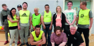 Volunteers at Sports activity at local leisure centre. The group includes people on probation, people with learning disability, school students, a Syrian refugee and an ex-alcoholic.