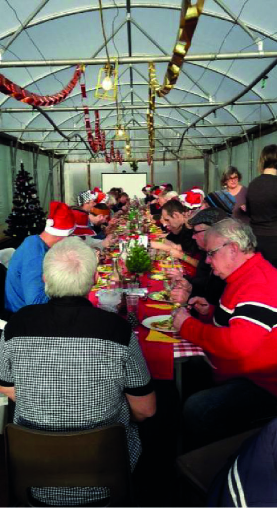Christmas Dinner for 47 in the polytunnel, cooked and served staff
